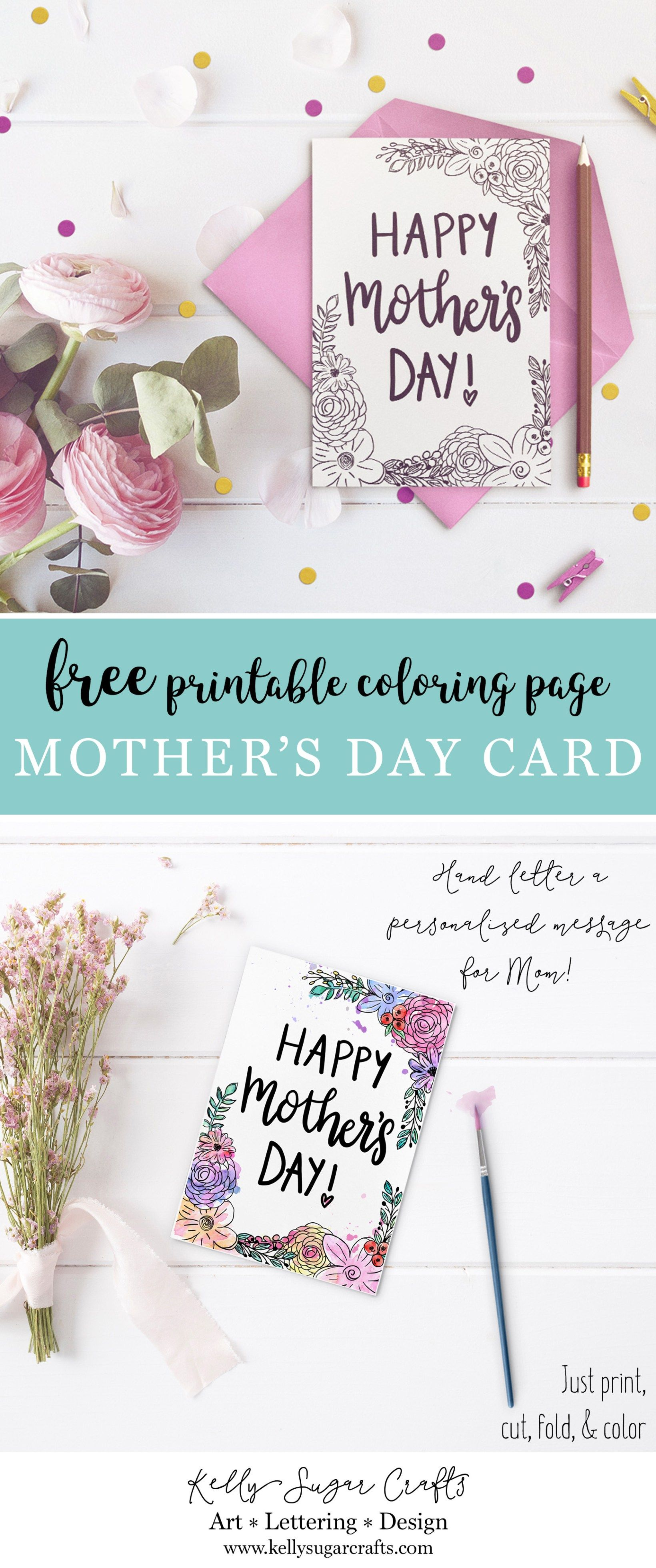Free printable floral Mother's Day coloring page card by Kelly Sugar Crafts  #mothersdaygift #mothersdaycard #mothersdayprintable #freeprintables  #printables