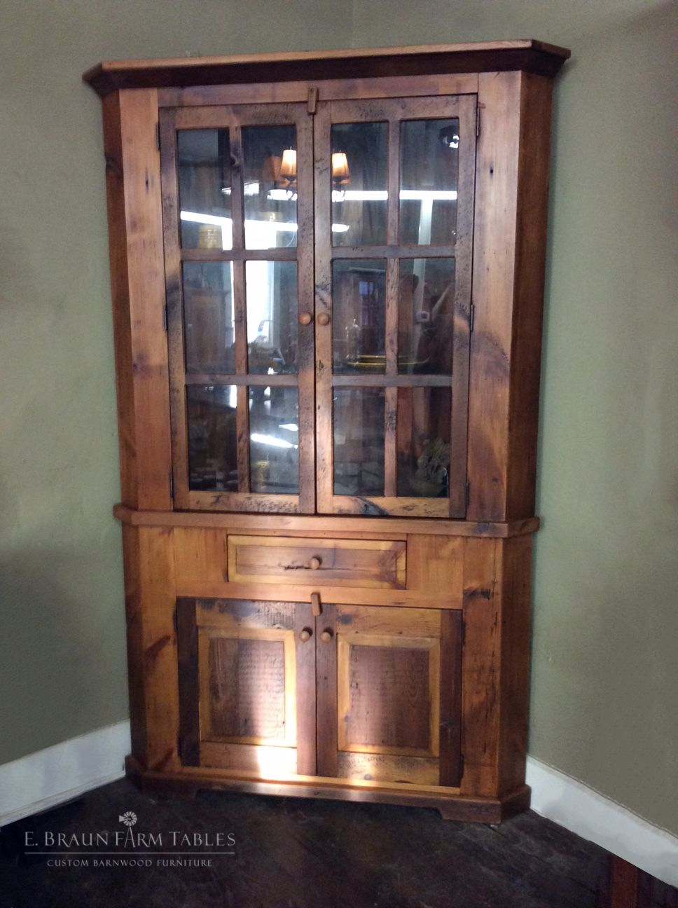 This Natural Color Corner Cabinet Is On The Showroom Floor Right Now Ready For Purchase