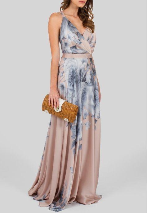 e83198337 POWERLOOK - Aluguel de Vestidos Online Vestido Carmen longo de seda floral  Powerlook - estampado rosa