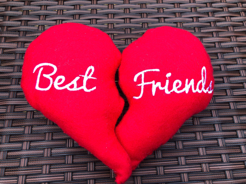 Best friend split heart cushions valentines gift gift