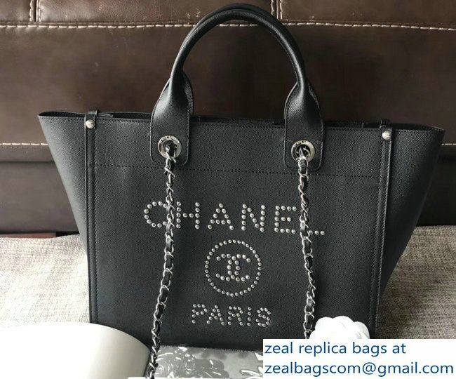 931afe458054 Chanel Studded Calfskin Deauville Small Shopping Bag Black 2018 ...