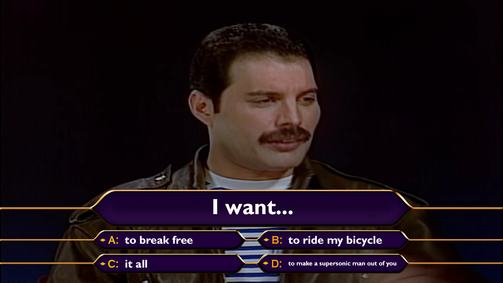 Freddie Mercury appearing on the UK version of 'Who Wants To