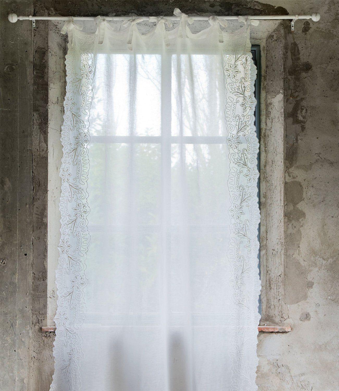 Tenda Blanc Mariclo misto lino cotone Shabby chic 140 x 290 cm ...