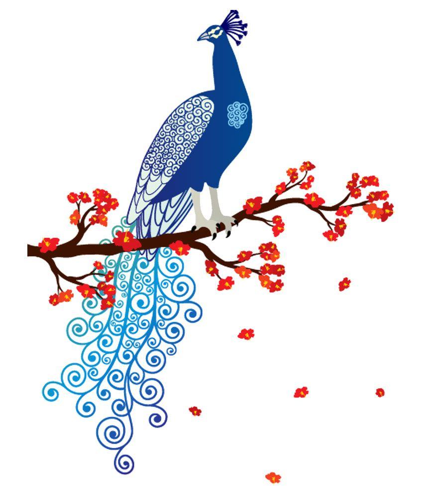 print mantras blue asmi collections pvc wall stickers beautiful print mantras blue asmi collections pvc wall stickers beautiful peacock and flowers