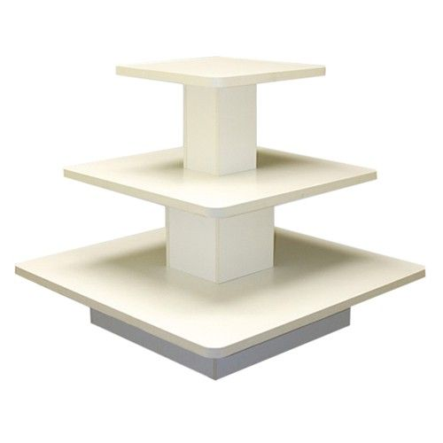 Superb Square 3 Tiered Table   White