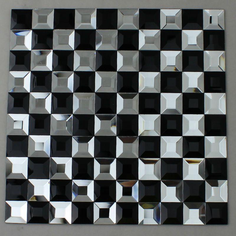 Glass Diamond Mosaic Tile Black And White Crystal Glass Tile Backsplash Kl923 Kitchen Bar Table Wall Mosaic Tiles Mosaic Tile Bathroom Floor Glass Mosaic Tiles