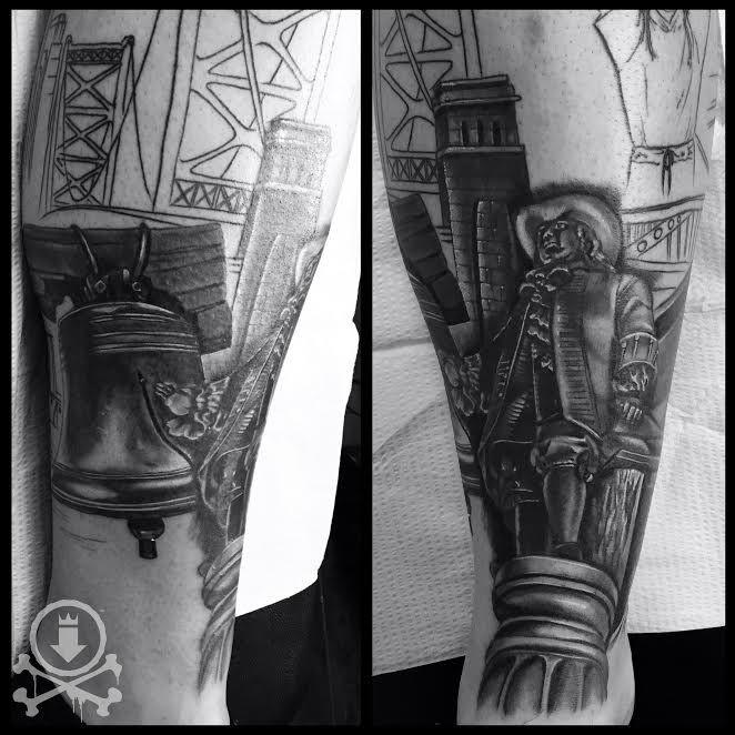 d7c76ca37 Excellent start to this Philadelphia themed leg sleeve tattoo by Meghan  Patrick. #12ozstudios #team12oz #tattoo #tattoos #tattooart #blackandgrey  ...
