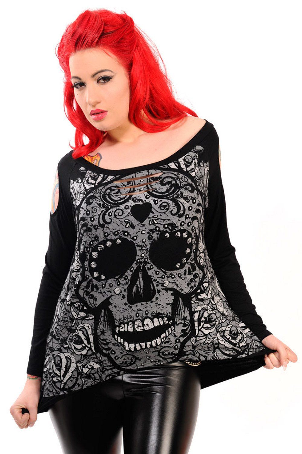 81c872c9fc6ce Gothic Emo Darkness Skull   Rose slouchy wideneck Oversized Long ...