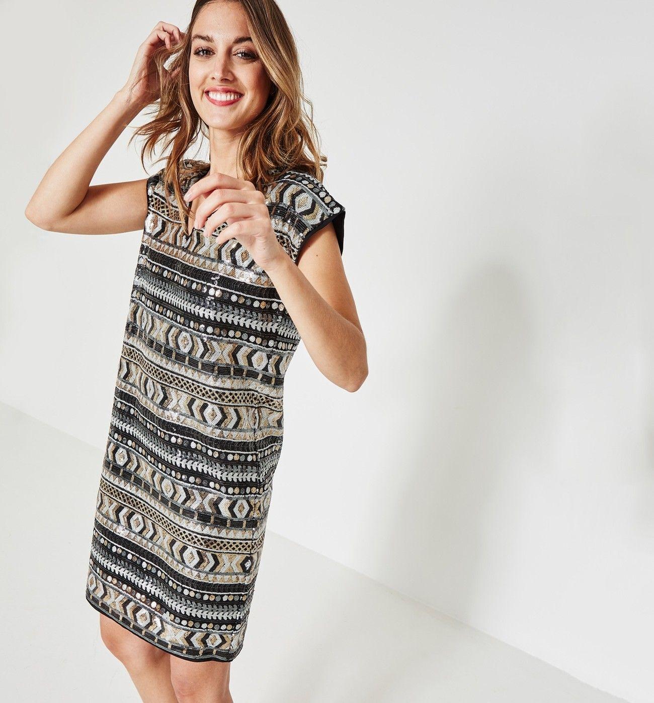 Imprimé À Sequins Robes Femme Promod Multicolore Robe O8mNnv0w