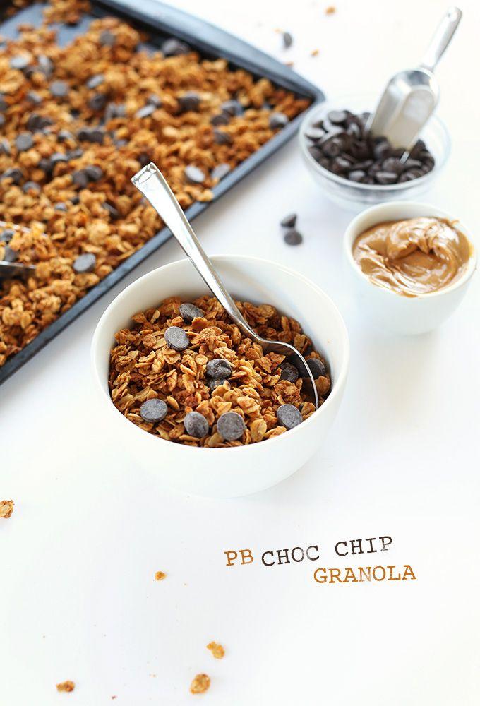 Peanut Butter Chocolate Chip Granola Minimalist Baker Recipes Recipe Peanut Butter Recipes Peanut Butter Chocolate Chip Granola