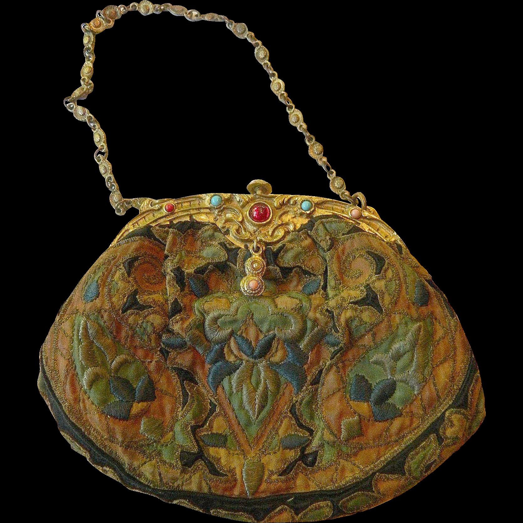 French Silk Embroidered Victorian Purse-Semi Precious