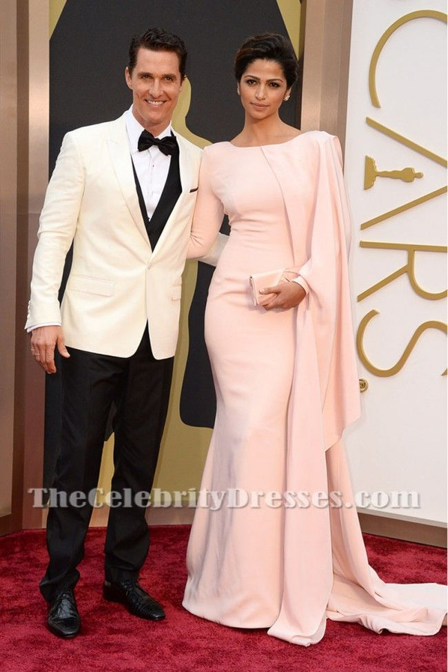 Camila Alves Elegant Pink Long Evening Prom Dress Oscars 2014 ...