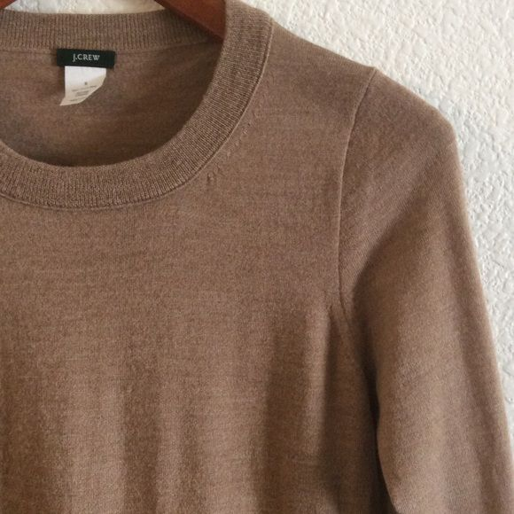 J crew tippi sweater J crew tippi merino wool sweater. Bracelet length sleeves, very good used condition. Size small. Color heather acorn. J. Crew Sweaters Crew & Scoop Necks