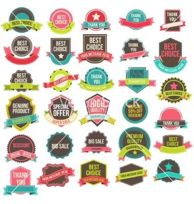 Collection labels and ribbons vector by sabelskaya on VectorStock®