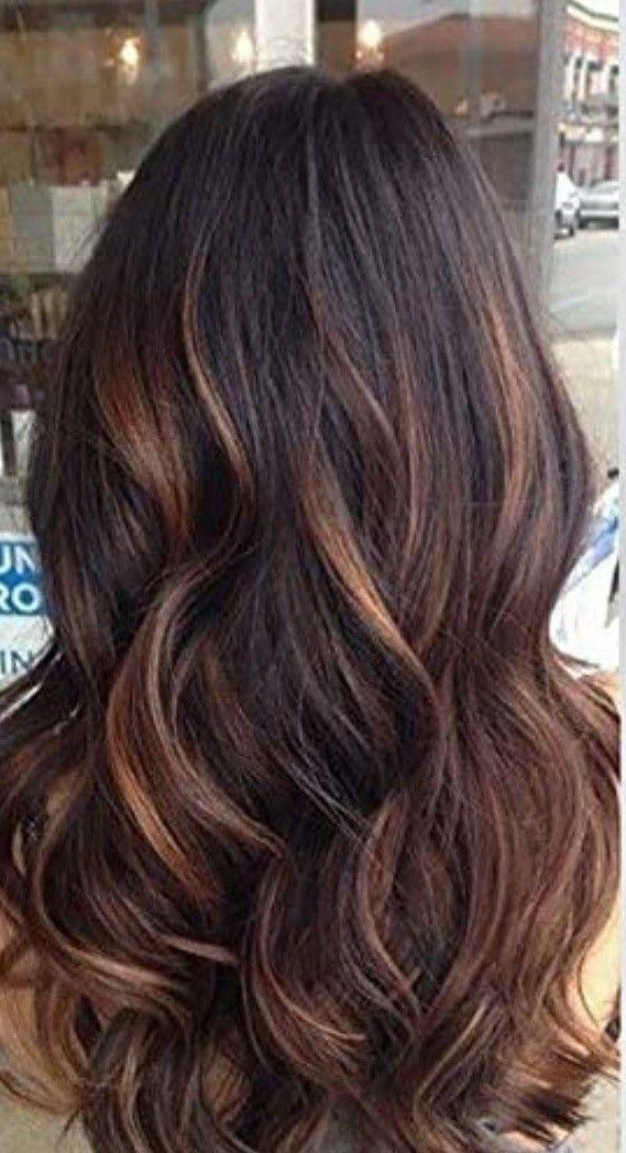 Dark brown hair highlights