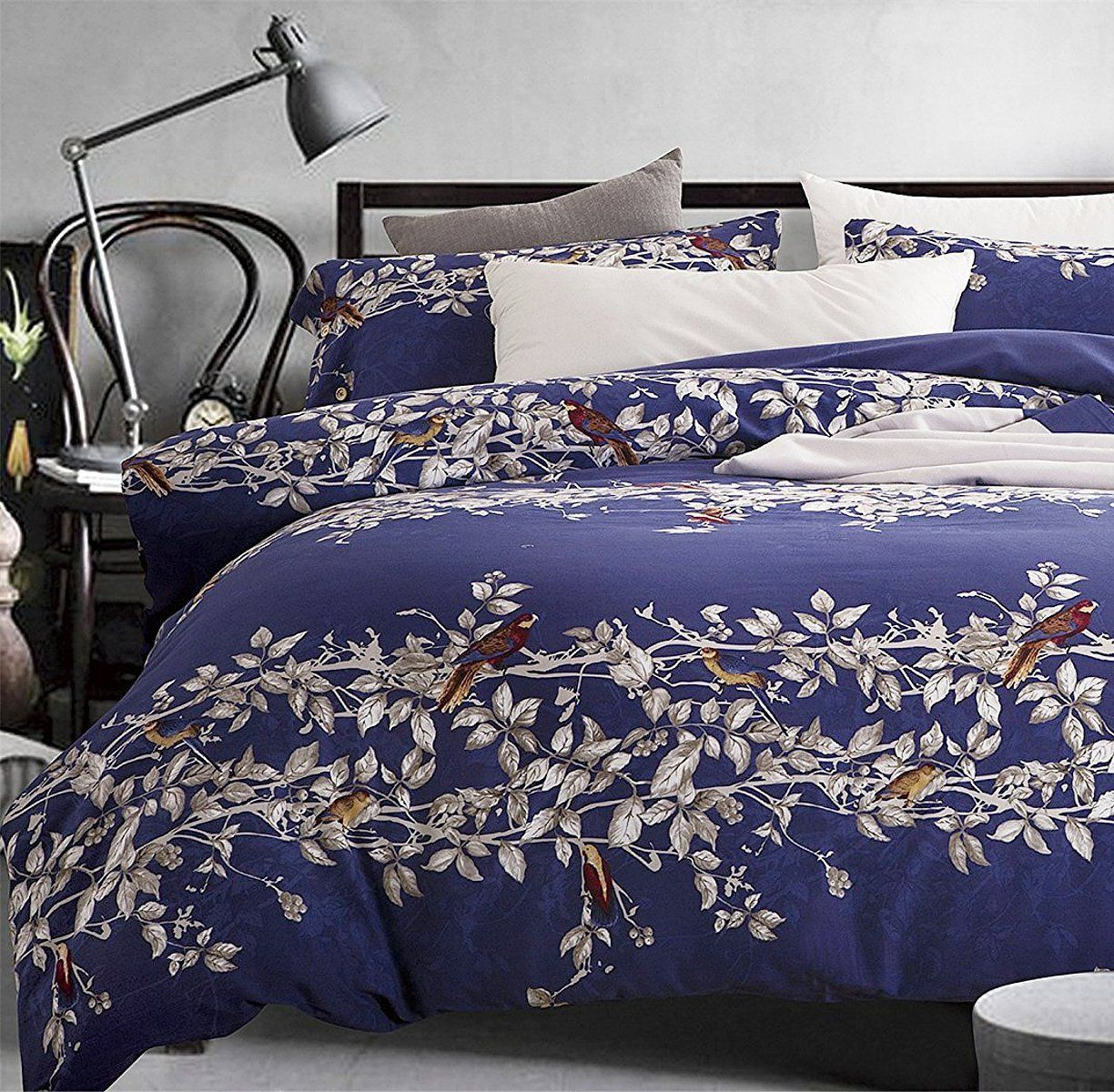 White and Blue Floral Bedding and Comforter Sets Eikei