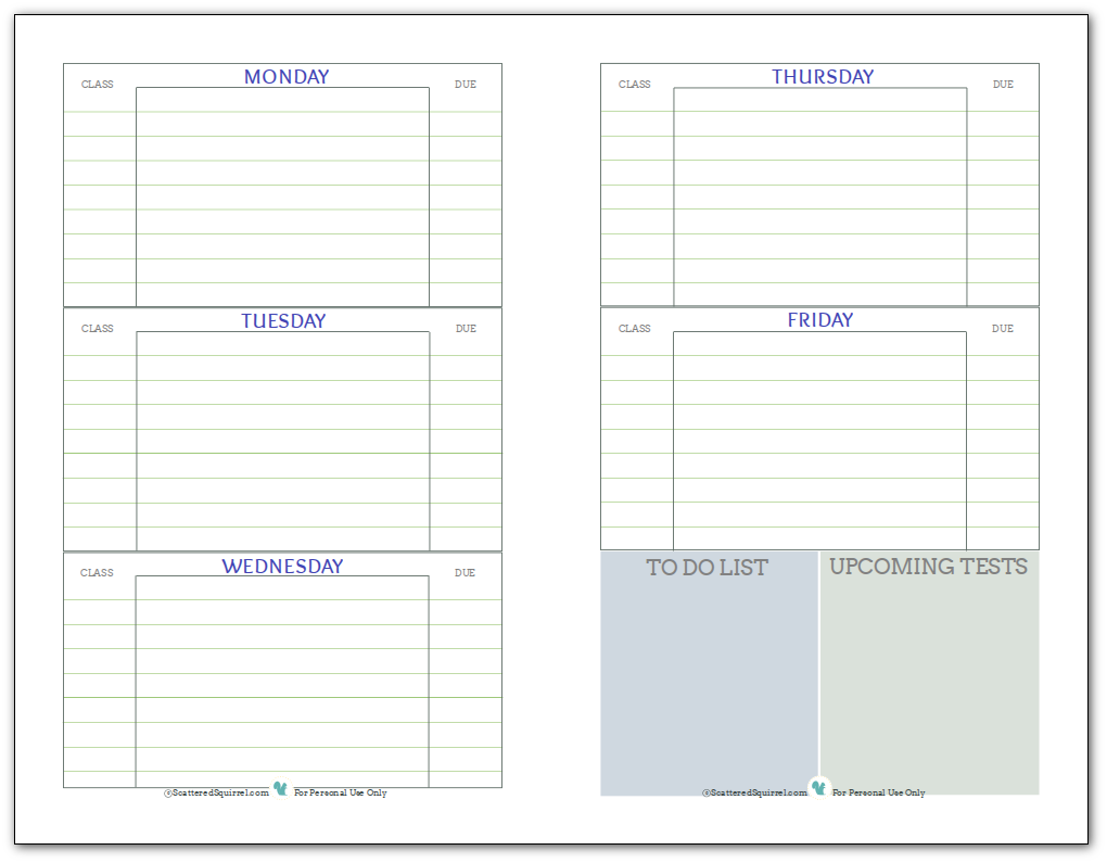Getting Ready For Back To School  Student Planner Printables
