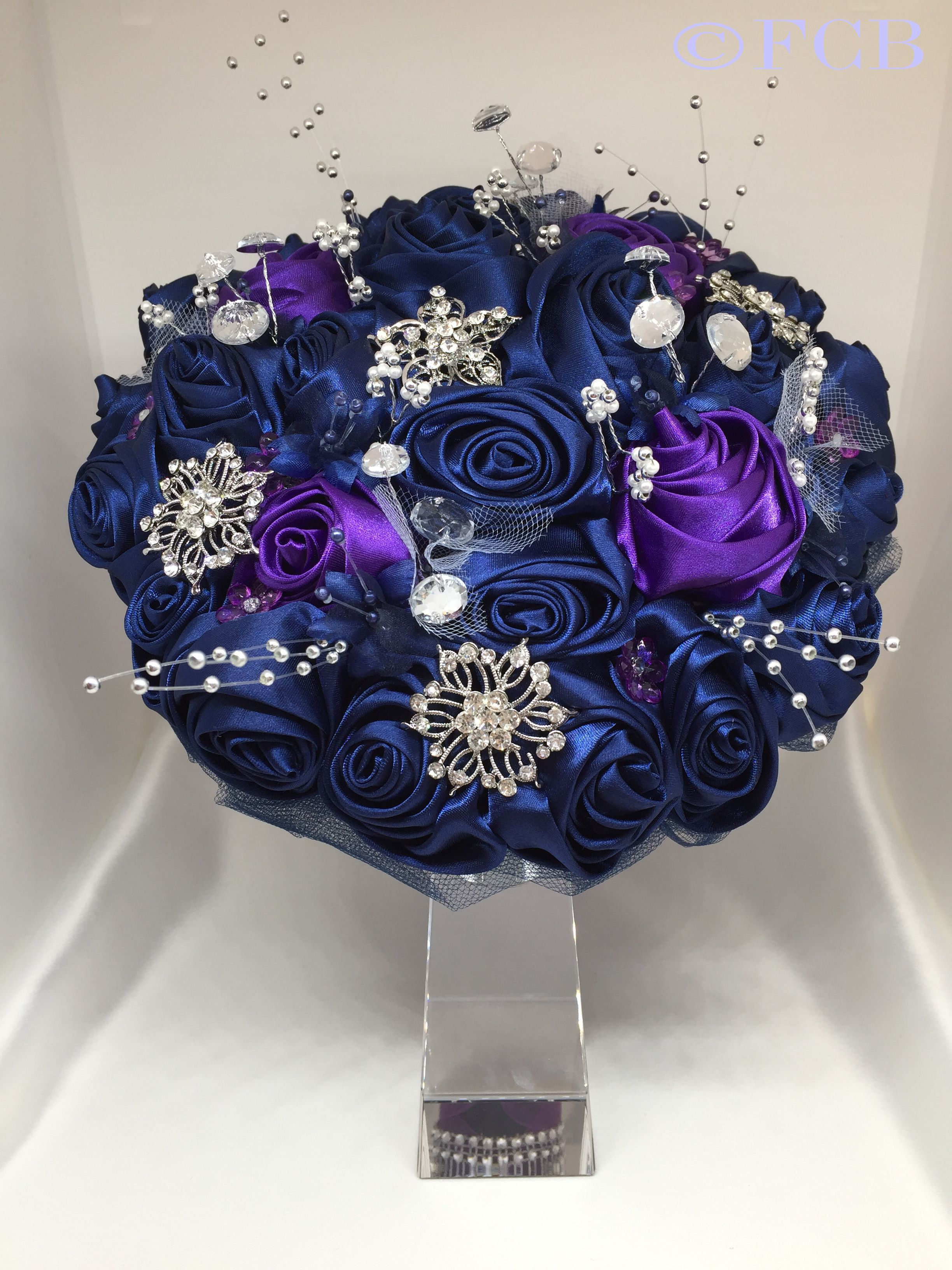 The Darcy Bridal Bouquet Navy Purple Satin Ribbon Roses With