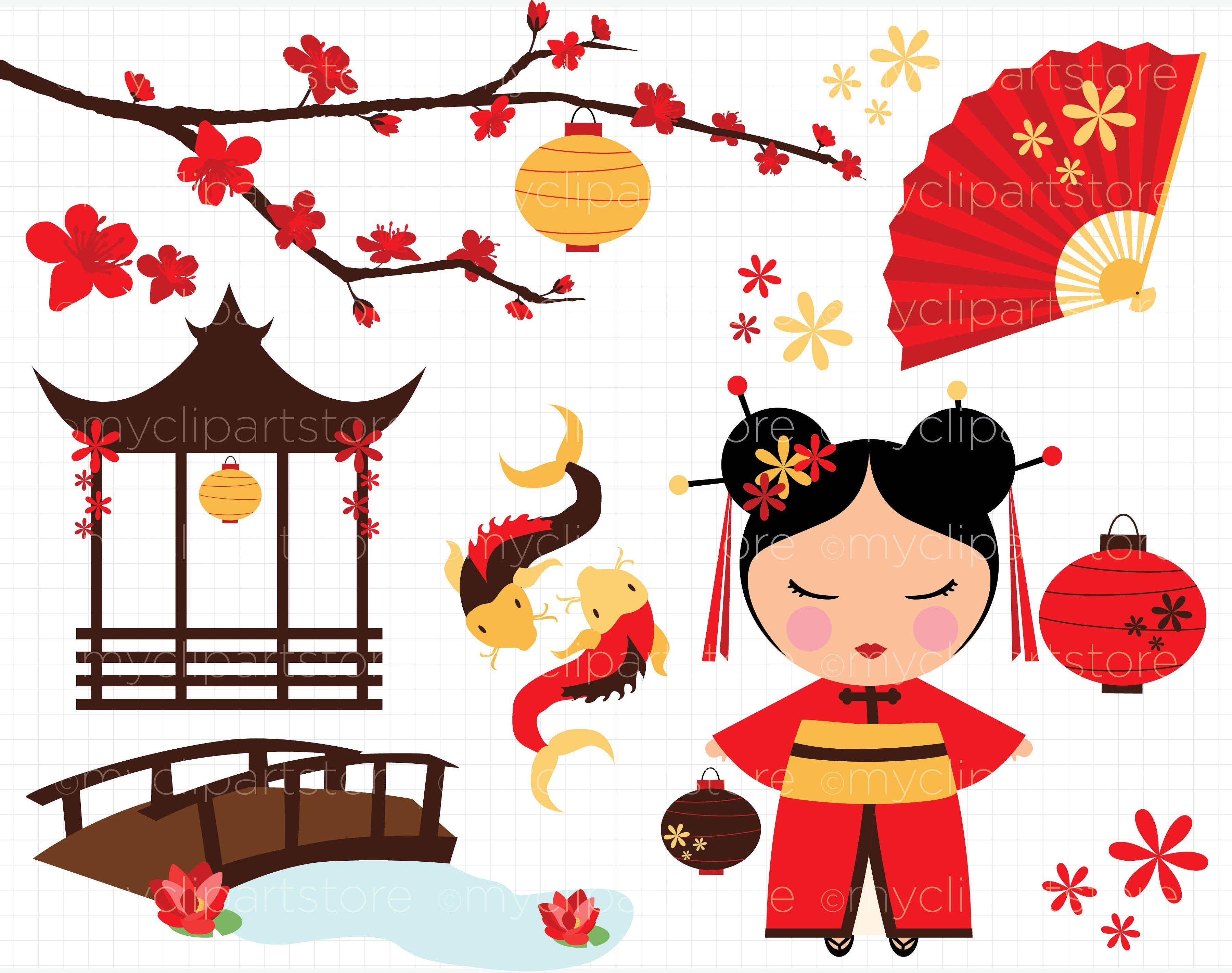 50% OFF - Kokeshi Cherry Blossom by MyClipArtStore on ...