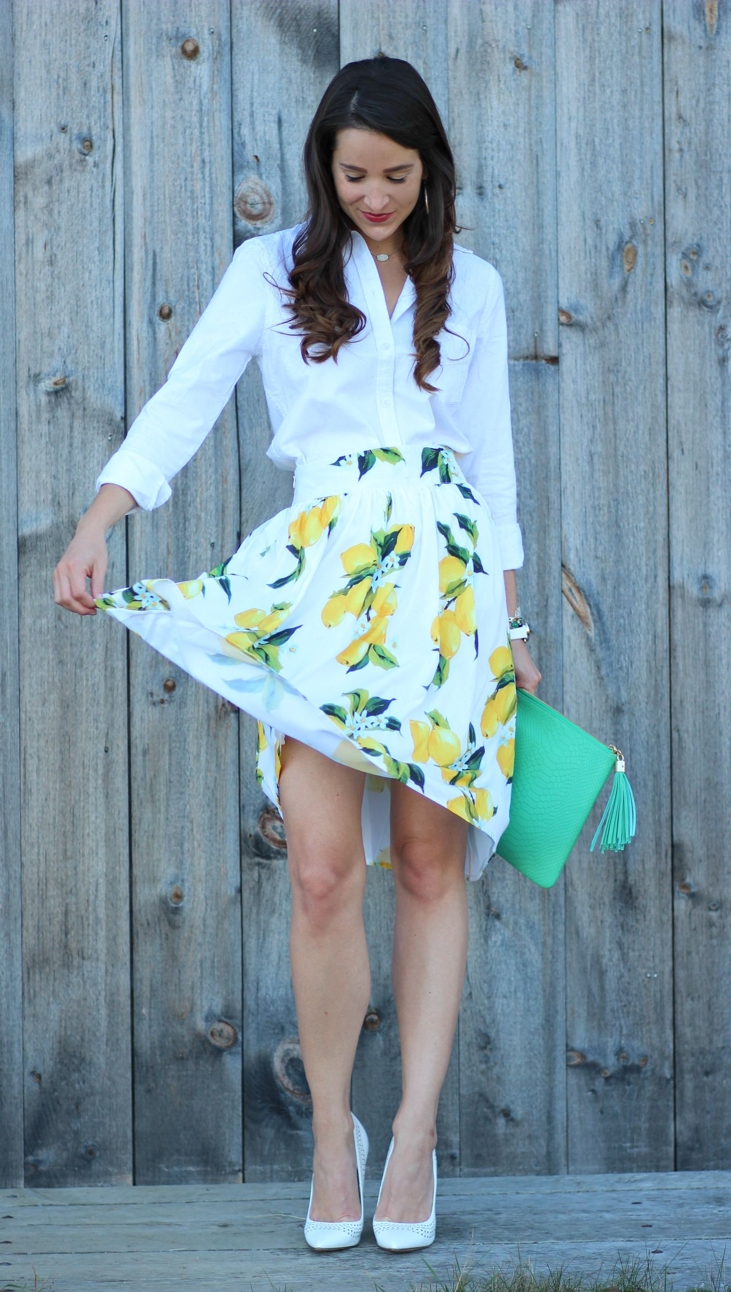 High Waisted Lemon Print Skirt With White Oxford And Green Clutch Such A Cute Church Or Work Outfit Idea Printed Skirts Fashion Lemon Print [ 2652 x 1500 Pixel ]