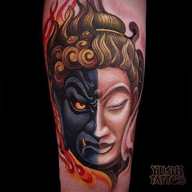 Calm Wrath By Yoshitattoo At Gurutattoo In San Diego California Calm Wrath Yo Japanese Tattoo Designs Traditional Japanese Tattoos Buddha Tattoo Design