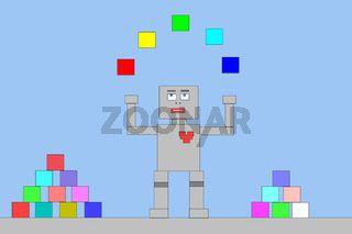 Roboter spielt mit Bauklötzen.