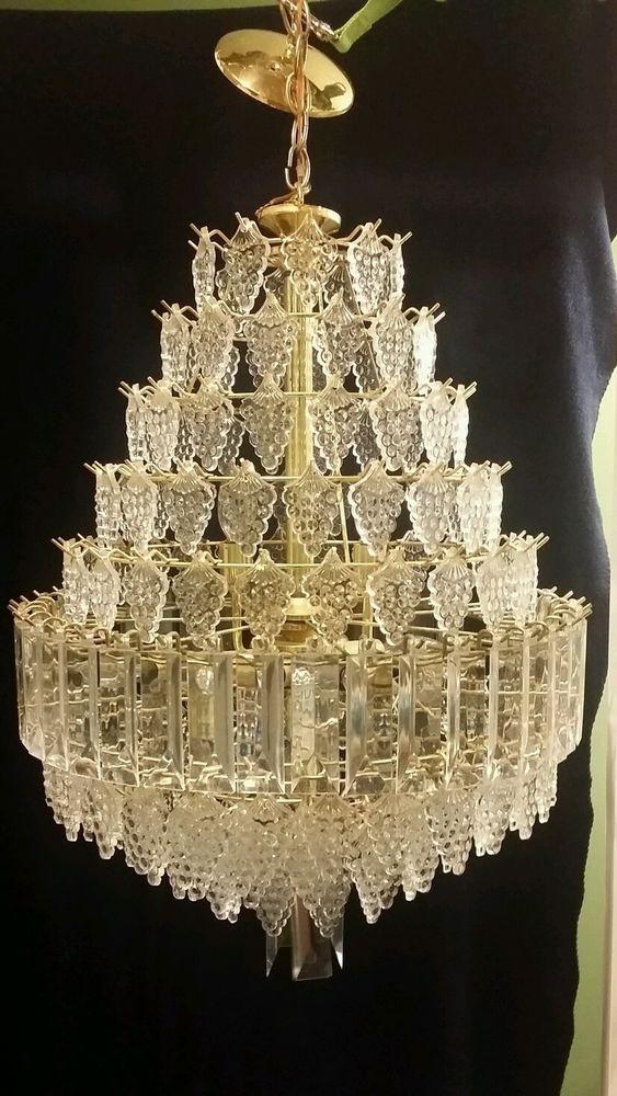 Vintage 13 Tier Lucite Grape Cluster Crystal Prism Chandelier 21