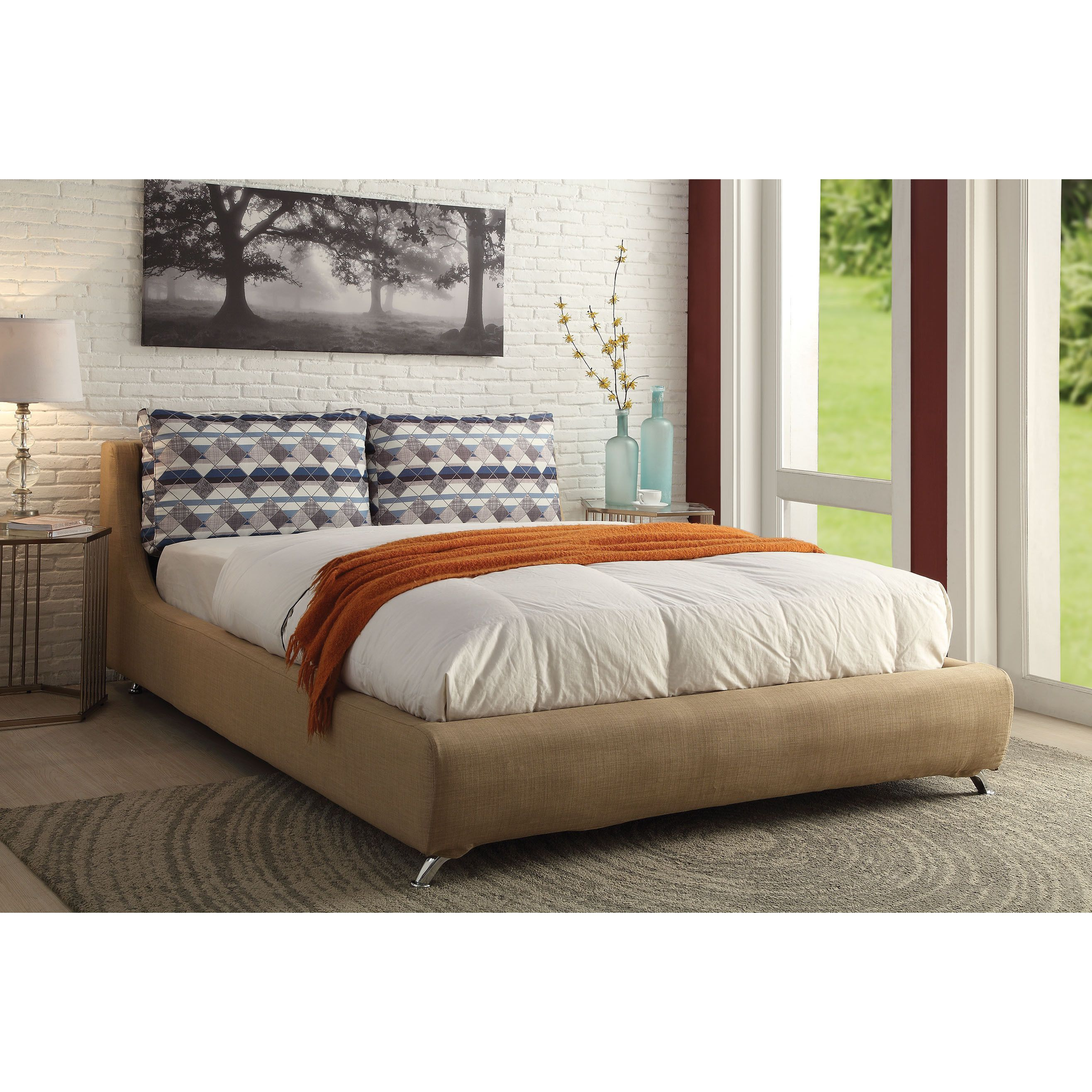Lightriver Light Brown Linen Queen Bed (Light Brown Linen, 93L x 66 ...