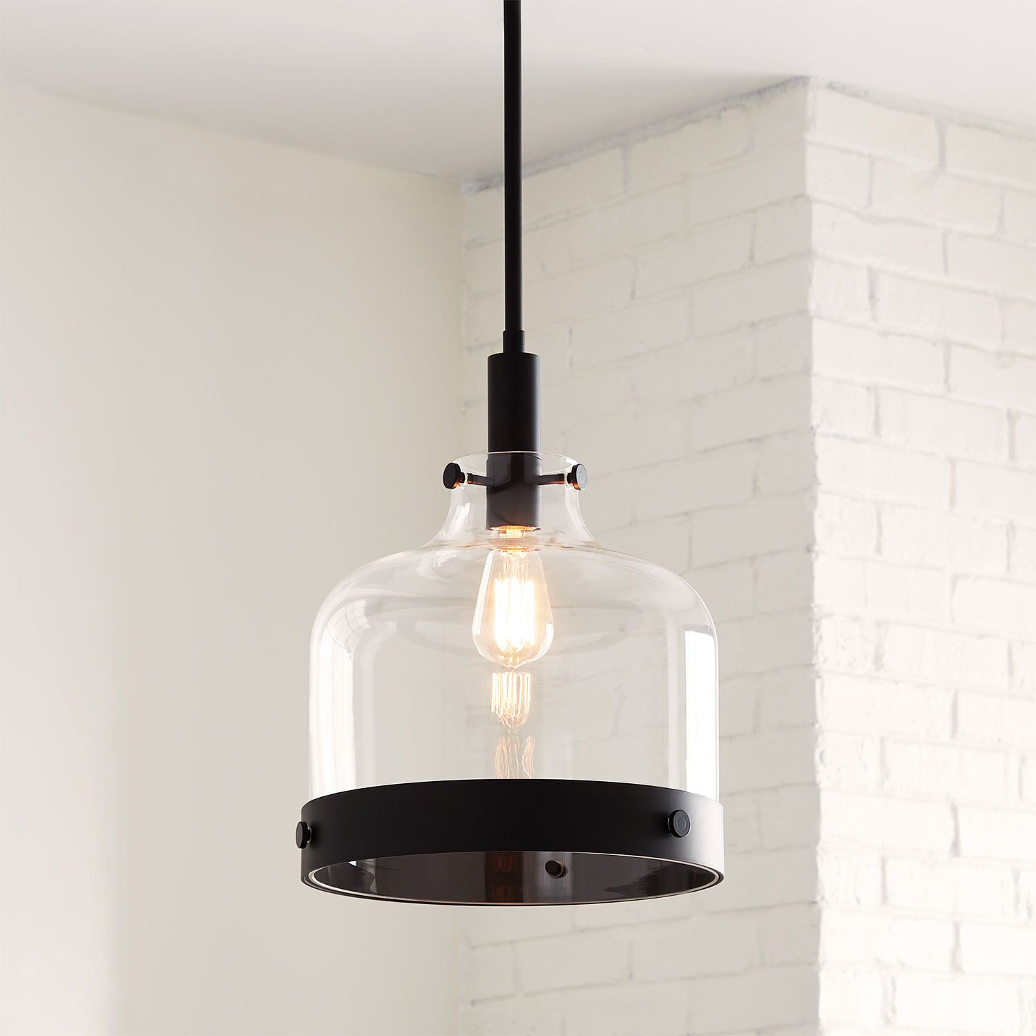 Crozet Pendant Light In Single Light In Polished Nickel Metal