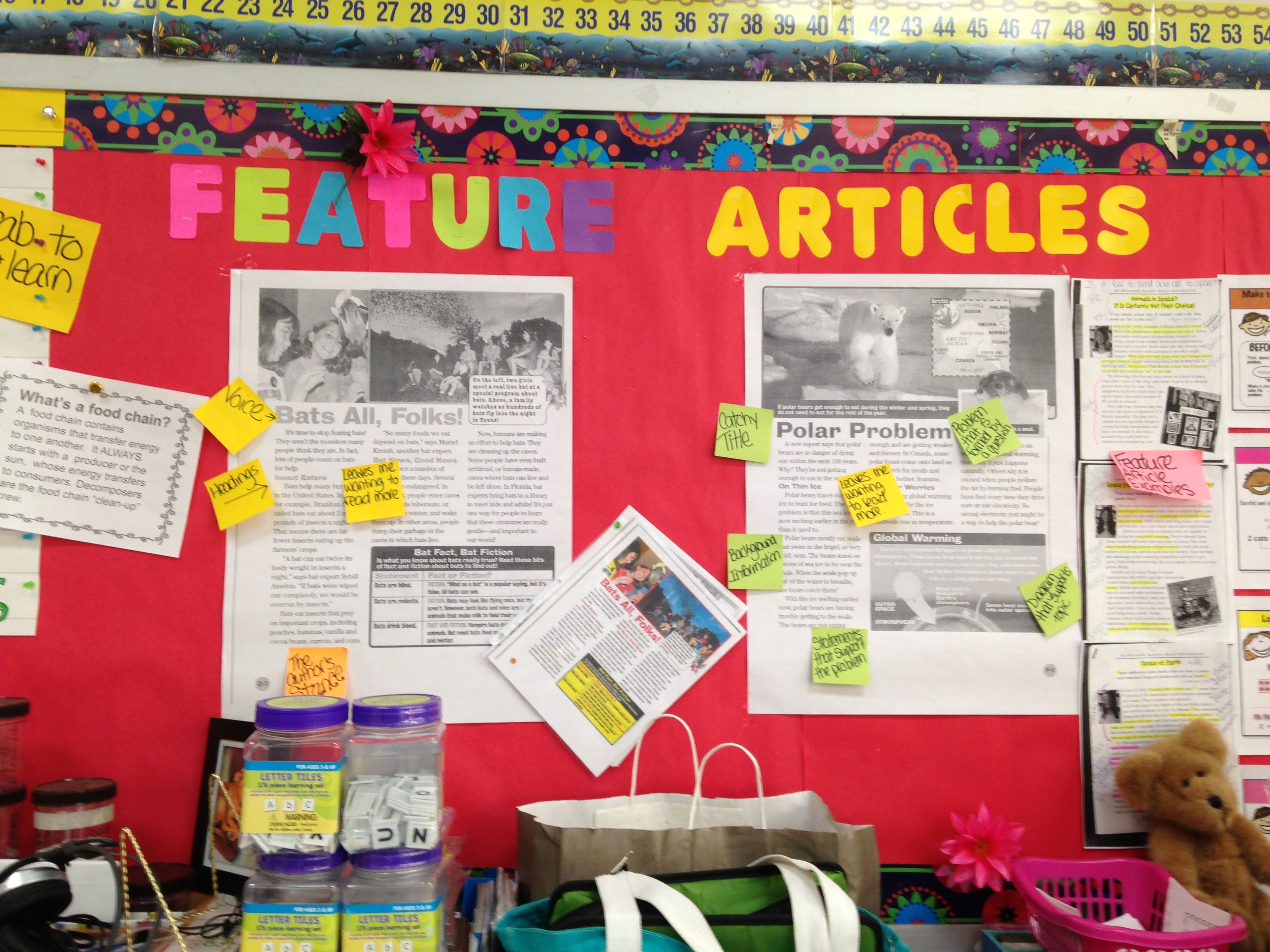 Feature Articles Chart   Writing anchor charts, Feature article, Third  grade anchor charts