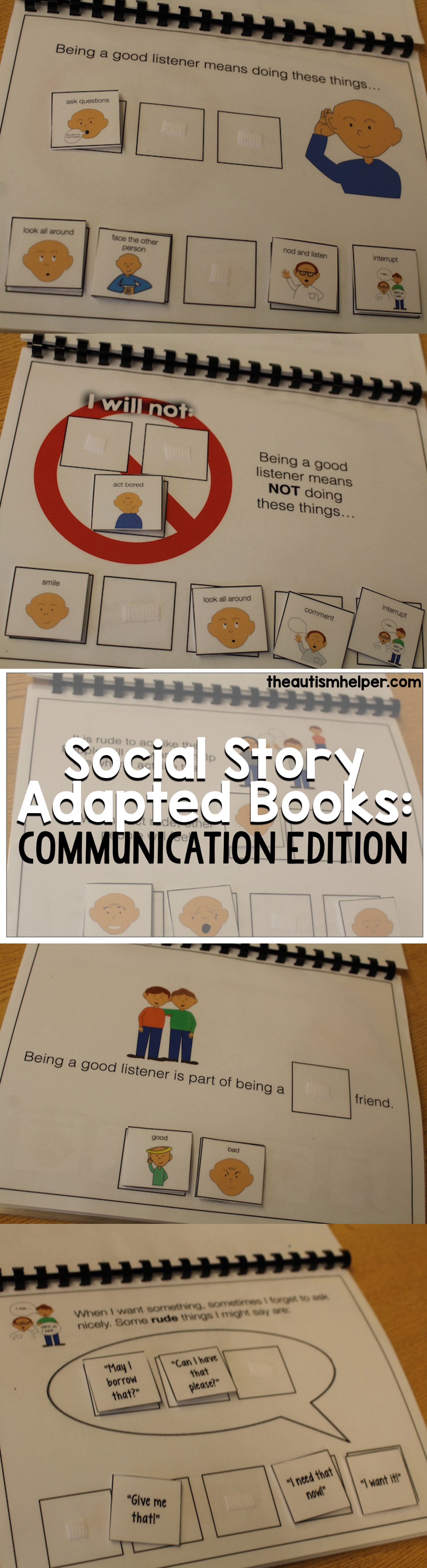 Adapted books mash-up with social stories in our Social Story Adapted Books on the blog!! From theautismhelper.com #theautismhelper.com