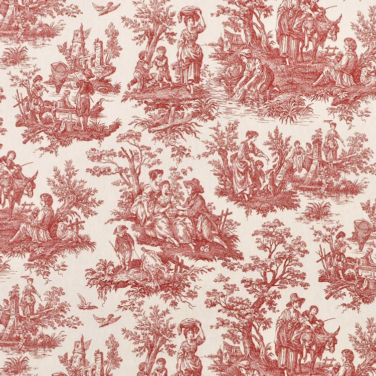 Waverly Country Life Toile Garnet Fabric | Toile wallpaper ...