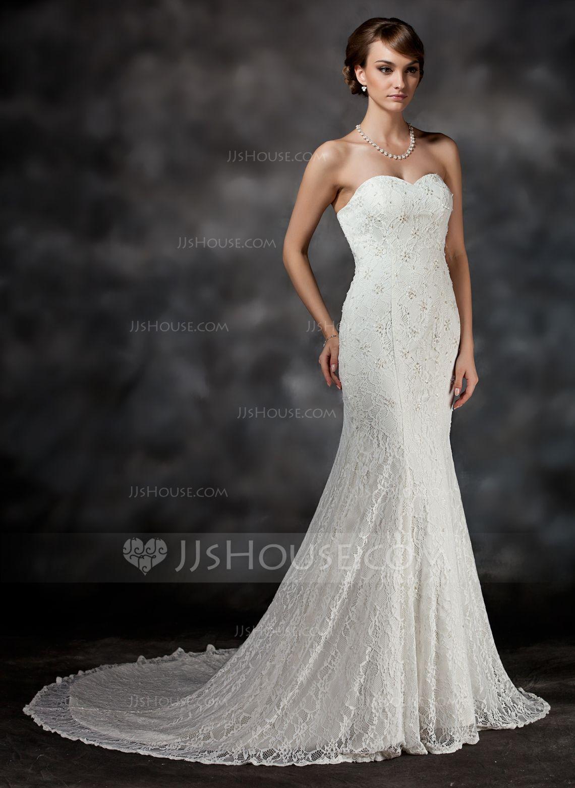 Trumpet/Mermaid Sweetheart Chapel Train Satin Lace Wedding Dress With Beading (002017421) - JJsHouse