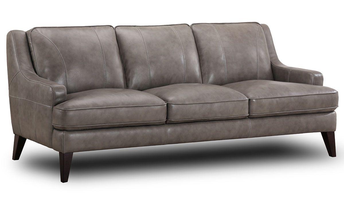 Stallion Grey Top Grain Leather Track Arm Sofa Top Grain Leather Sofa Discount Sofas Top Grain Leather