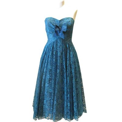 1950's Deep Turquoise Parisian Lace Dress so.. gorgeous