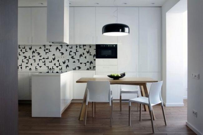 Küchenzeile modern  Wohnideen weiße Küchenzeile modern holz esstisch schwarze akzente ...