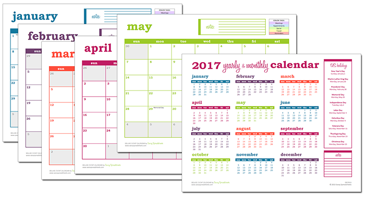 deluxe excel calendar excel template calendars and planners