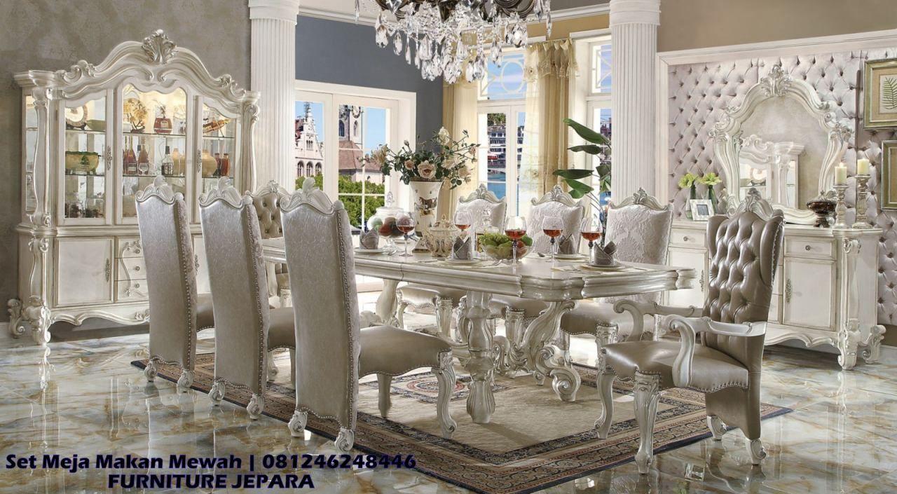 Satu Set Meja Makan Klasik Ukir Terbaru Furniture Jepara Set