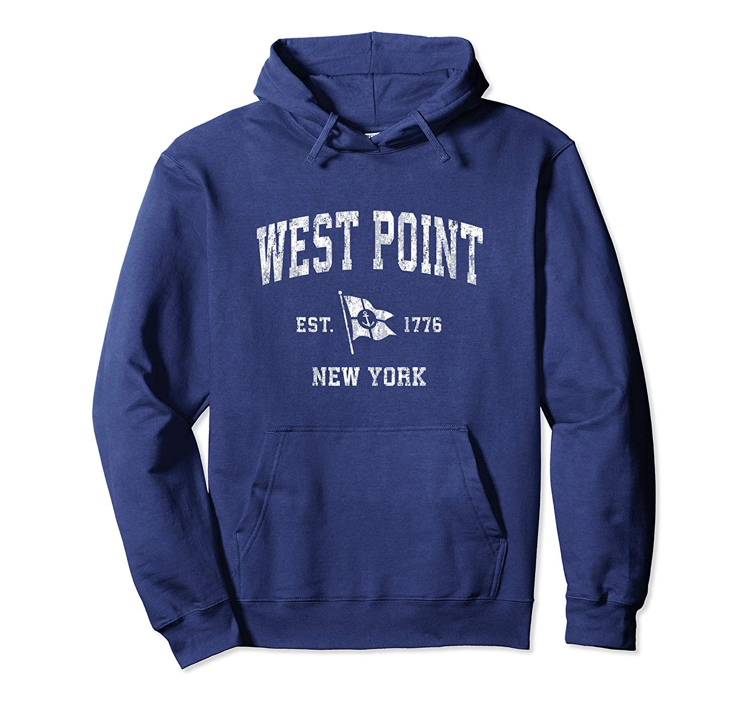 West Point NY Vintage Nautical Boat Anchor Flag Sports Pullover Hoodie #grandpagifts