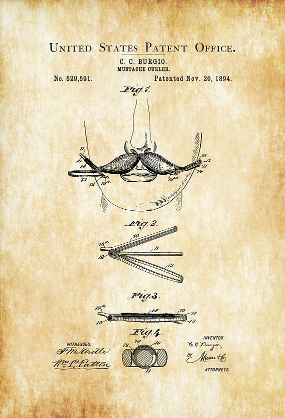 Mustache Curler Patent 1894 - Patent Print Bathroom Decor Bathroom ...