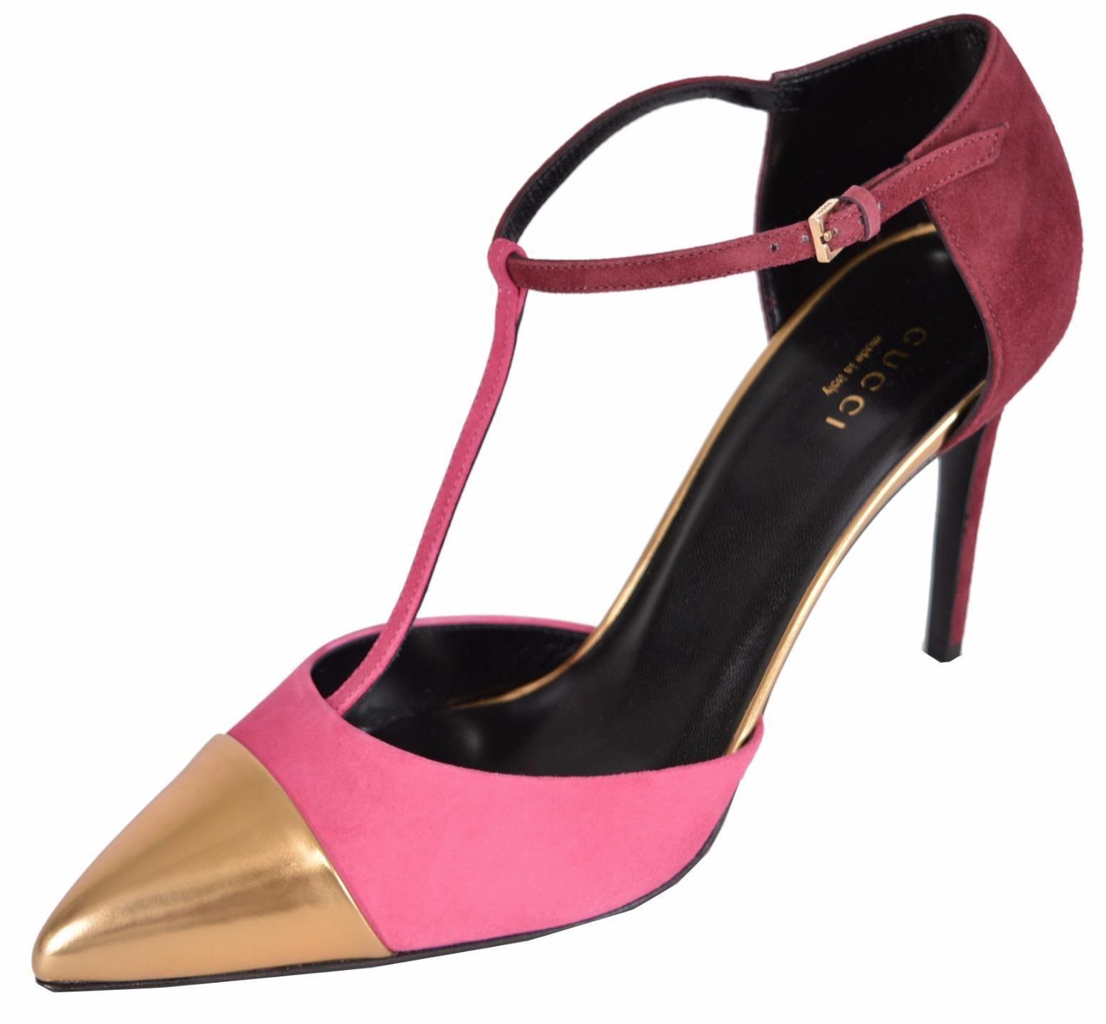 1ecf368a6fd Gucci Pink/Gold New 353720 Colorblock Cap Toe T Strap 37 Pumps Size ...