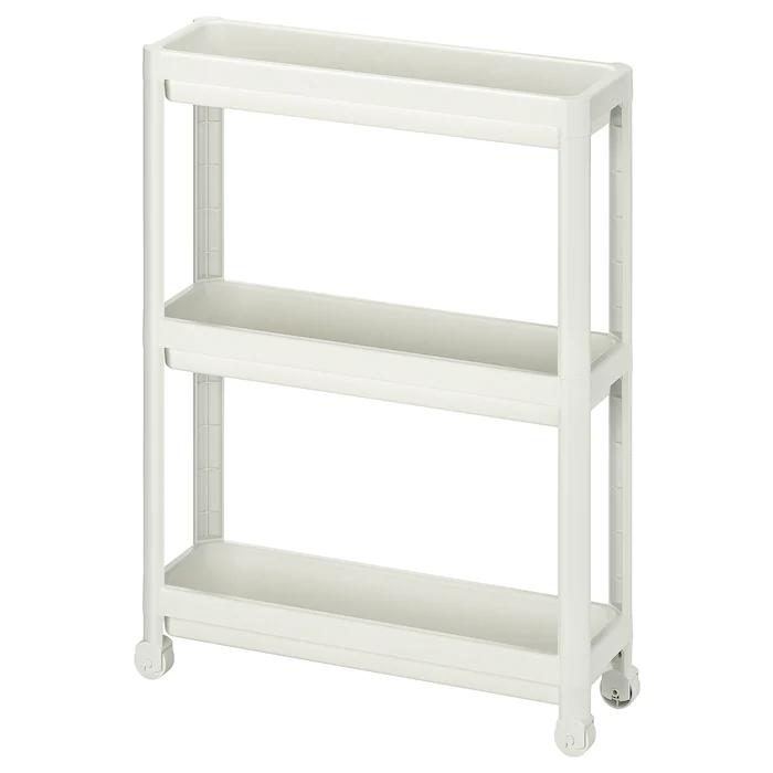 Vesken Cart White 21 1 4x7 1 8x28 Ikea In 2020 Shelves Bathroom Storage Units Ikea