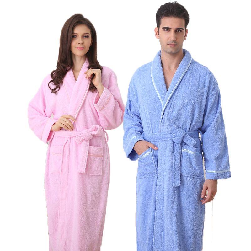 8f0ee0c62f Cotton bathrobe women nightgown men sleepwear for girls blanket towel  fleece lovers long soft plus size