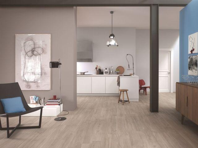 carrelage-imitation-parquet-cuisine-ouverte-salon carrelage - meuble de cuisine gris anthracite