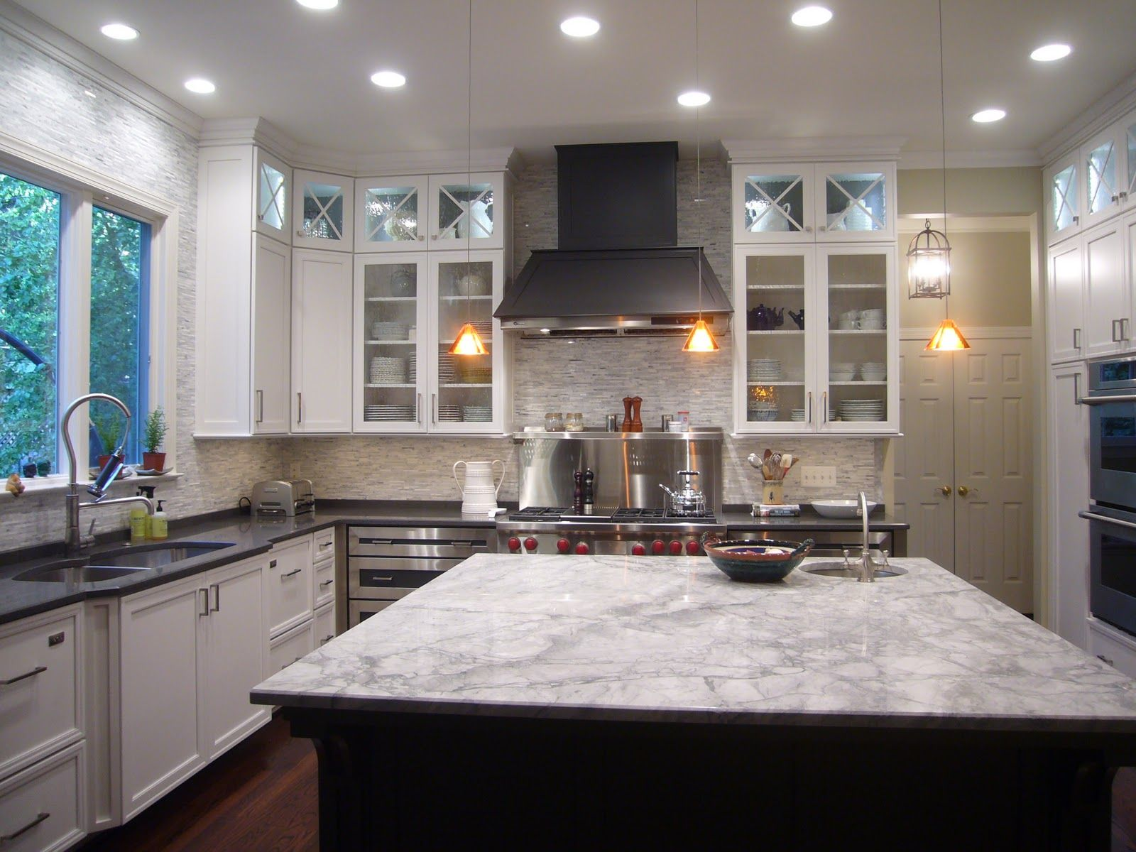 White Kitchen Grey Countertop white fantasy granite? - love so many details in the kitchen