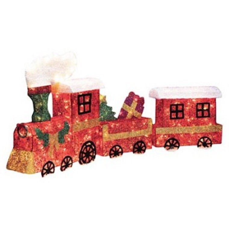 3d sisel red lighted christmas train outdoor lawn decoration ornament 3 piece - Christmas Train Yard Decoration