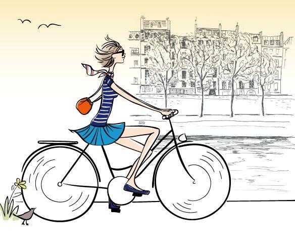 Quai de seine v lo paris illustration illustrations - Dessin bicyclette ...