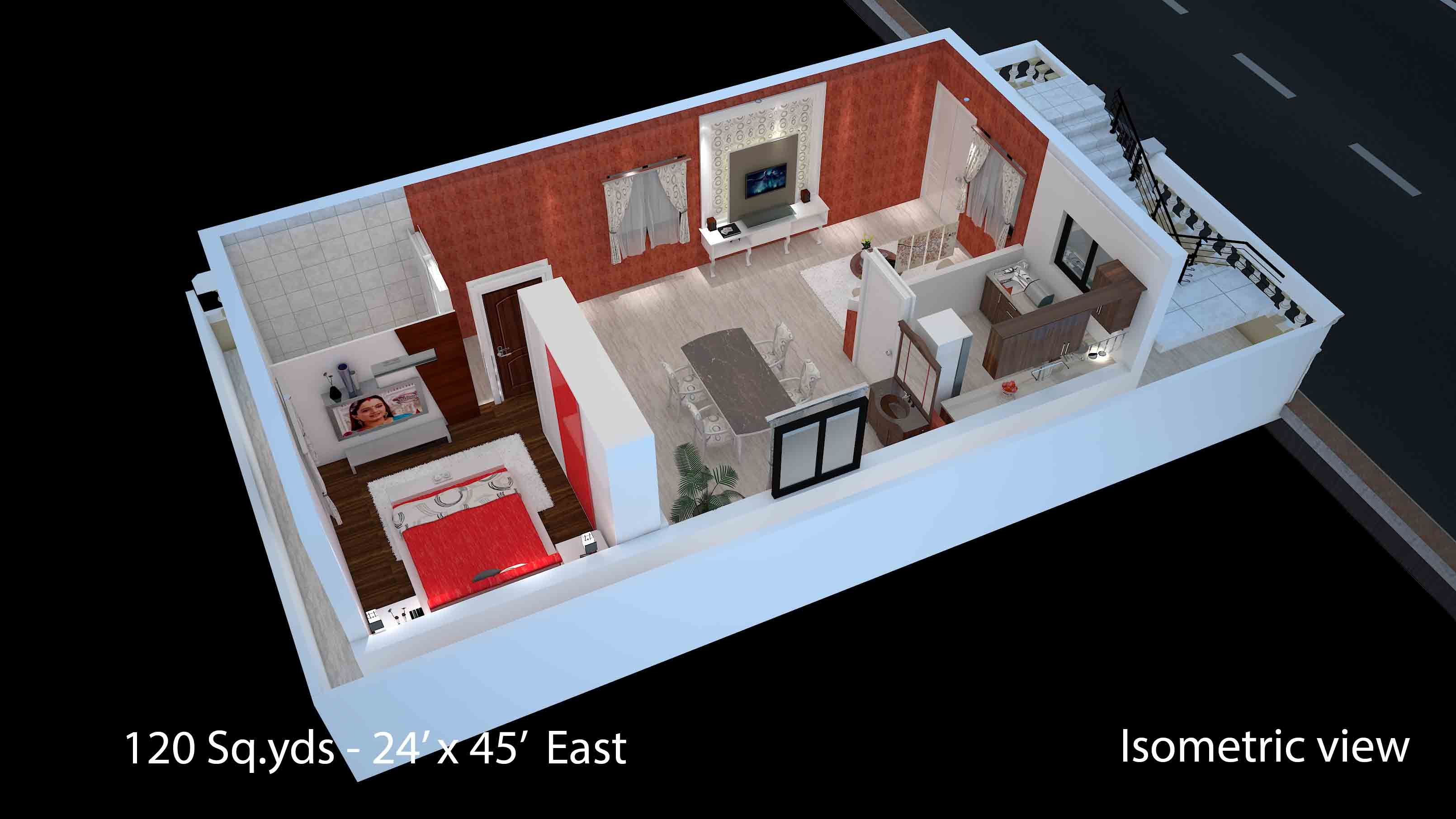 120 Sqyds At 24x45 Sqft East Face House 1bhk Isometric 3d