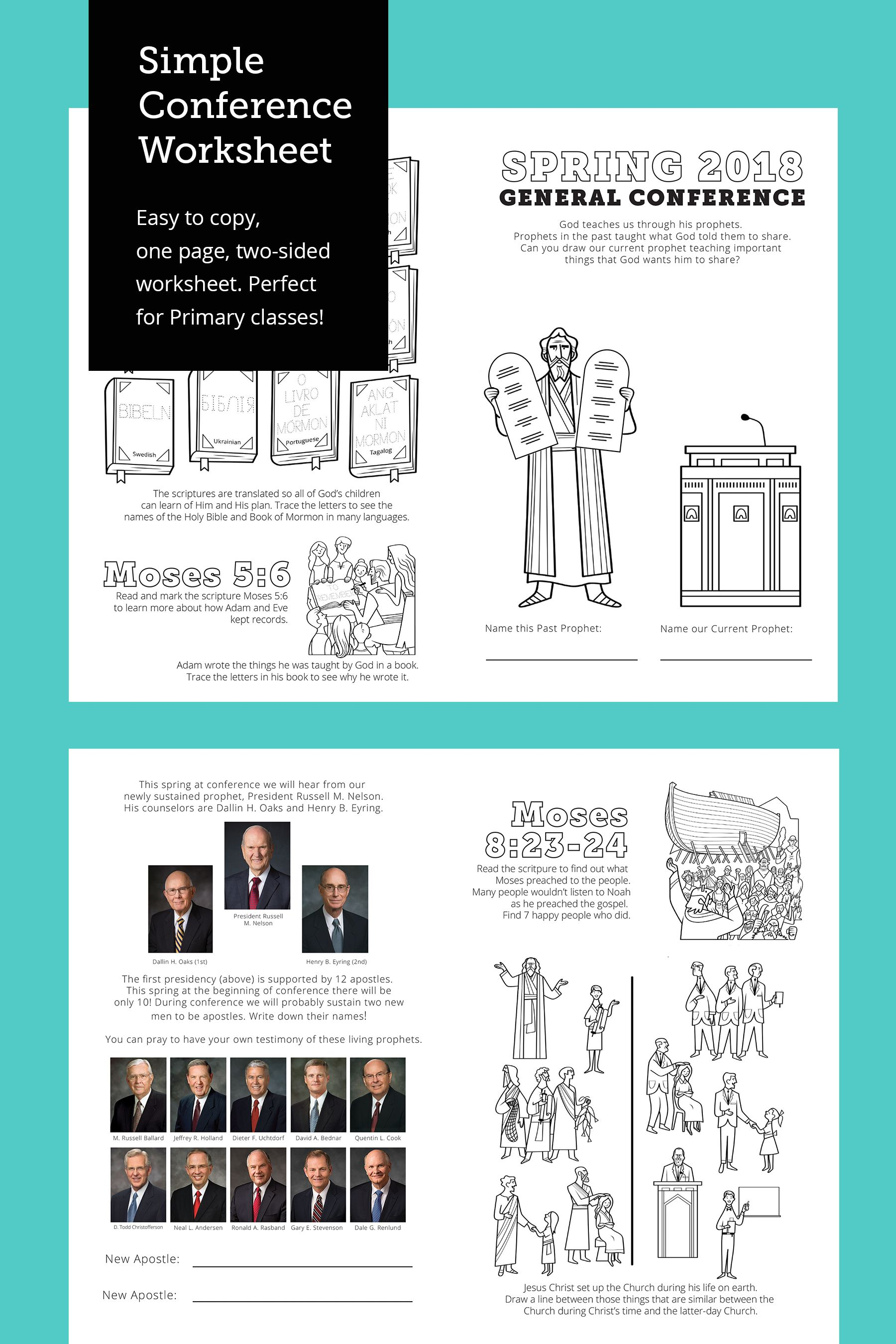 Simple General Conference Worksheet Spring 2018   THE MORMON HOME