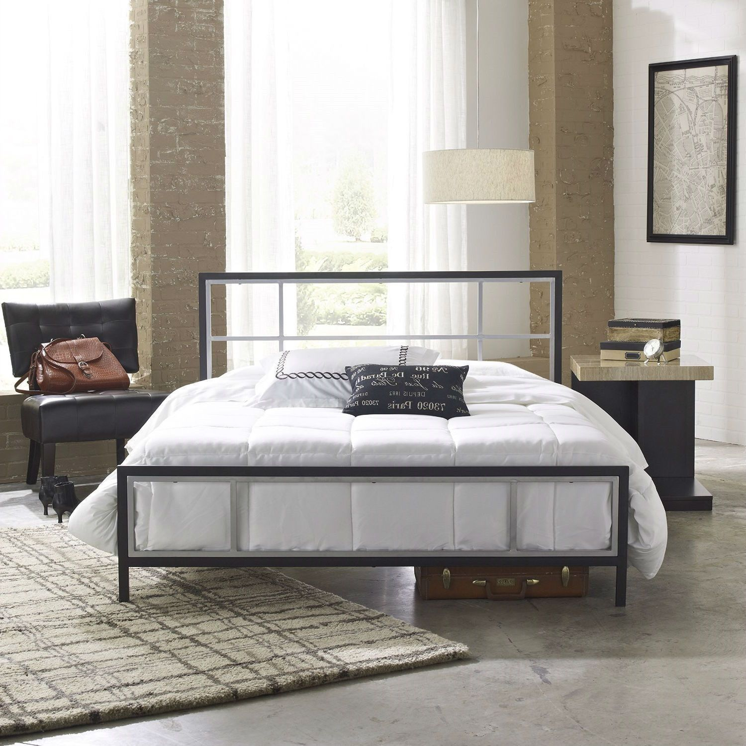 Queen size modern platform metal bed frame with headboard footboard and wooden slats